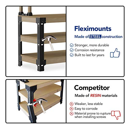 FLEXIMOUNTS Universal Steel Work Bench Leg Kit, Garage Storage Shelving Frame, Customizable in Sizes and Colors, Maximum 96