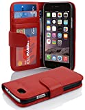 Cadorabo Hülle für Apple iPhone 6 / iPhone 6S in Inferno ROT – Handyhülle mit Magnetverschluss & 3 Kartenfächern – Hülle Cover Schutzhülle Etui Tasche Book Klapp Style