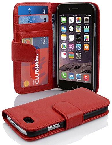 Cadorabo Hülle für Apple iPhone 6 / iPhone 6S in Inferno ROT – Handyhülle mit Magnetverschluss und 3 Kartenfächern – Case Cover Schutzhülle Etui Tasche Book Klapp Style