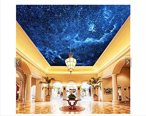 mznm 3D-Foto 3D Tapete Deckenleuchte Tapete Wandmalereien Sky Blue Night Dream Wohnzimmer Deckenleuchte Wandmalereien 3D Wohnzimmer Tapete 350x250cm