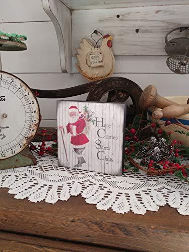 Wi2342itt - Cartel de Madera con Texto en inglés Here Comes Santa Claus Art Block