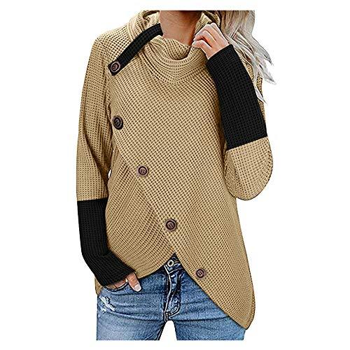 FELZ 2019 Moda Sudadera Caliente Mujer De Manga Larga Otoño e Invierno Pullover Suéter Irregular Prendas de Punto Collar de la Pila Jersey Suelto Abrigo Tallas Grandes Blusa Camisas