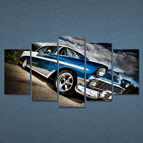YFQEGM Póster de Arte de Pared HD Impreso imágenes modulares 5 Piezas Coche Chevrolet Bel Air Lienzo Pintura decoración del hogar Sala de Estar