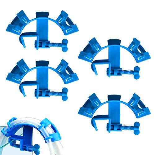 sdfg Fisch Tank Schlauchhalter, 4 Stück Fisch Tank Schlauchhalterung, Aquarium Wasserrohr Halter, Aquarium Wasserrohr, Verstellbares, Multifunktionales Aquariumzubehör für Aquarien (Blau)