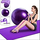 A prueba de explosiones engrosada bola de la aptit Yoga Set Kit de 3 piezas principiantes Paquete de yoga Colchoneta de ejercicio esencial tensión del cable 65 cm de yoga bola de entrenamiento de Pila