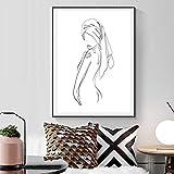 MKWDBBNM Negro Blanco Abstracto Minimalista Cuerpo Femenino Dibujo de línea Arte Impresiones Mujer Cartel Lienzo Pintura baño decoración del hogar | 52x70cm sin Marco