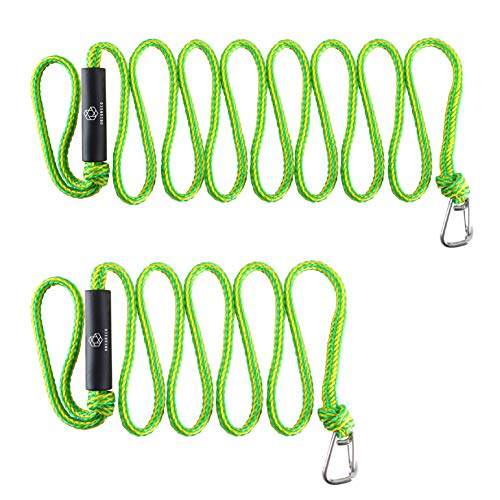 Obcursco Premium PWC Dock Lines, Heavy Duty Braided Line, Marine Rope for Jet Ski,Watercraft, Small Boat, Kayaking, Marine Sets of Two Ropes with 316 Stainless Steel Clip,(Green/Yellow)