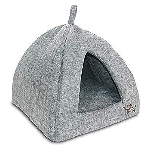 Best Pet Supplies Pet Tent Soft Bed for Dog & Cat, Inc. – Gray Linen, 16″ x H: 14″ (TT608T-M)
