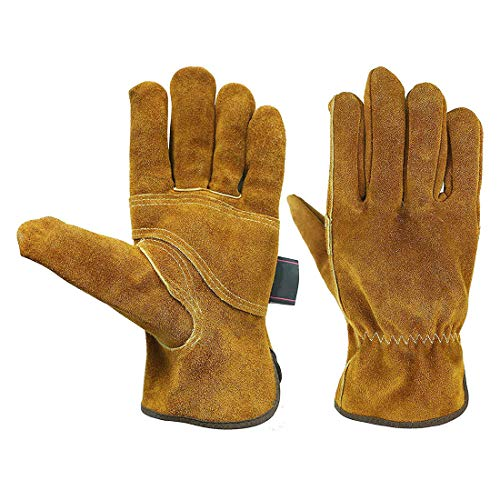 Waterproof Leather Work Gloves with Wrist Wear-Resisting Puncture-Proof for Yard Work, Gardening, Farm, Warehouse, Construction, Men And Women,L