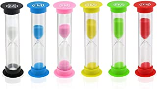 Sand Timer, KISEER 6 Pcs Colorful Hourglass Sandglass Sand Clock Timers Set 30sec / 1min / 2mins / 3mins / 5mins / 10mins for Brushing Children's Teeth, Cooking, Game, School, Office