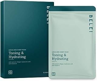 Marca Amazon - Belei - Mascarilla de tejido tonificante e hidratante 10 Unidades