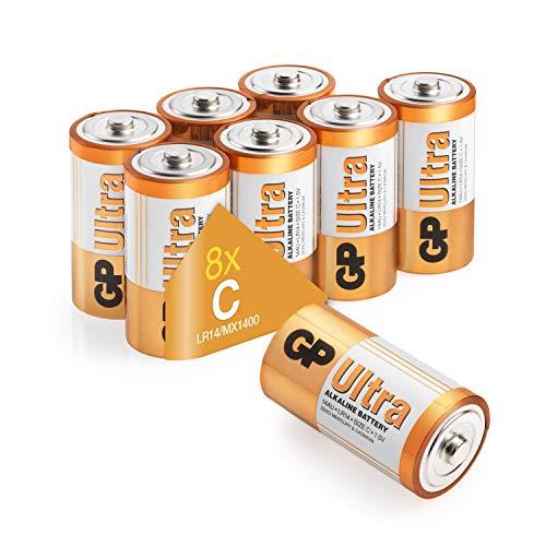 GP Ultra Alkaline Batterie – C, D  und 9V C Pack of 8