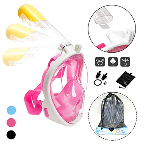 Athyior Snorkelmasker Volledig gezicht voor volwassenen - 180 graden volledig zicht Duikmasker Anti-condens Anti-lek met GoPro Mount Onderwater Ademmasker Zwembril