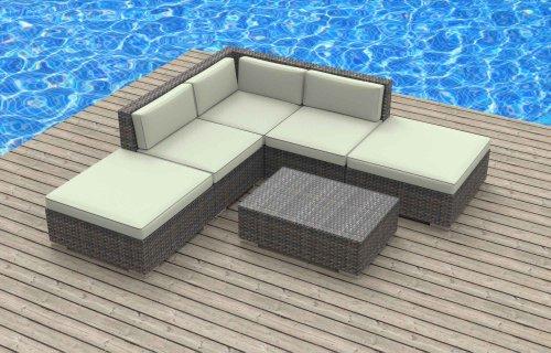 Hot Sale Urban Furnishing - BALI 6pc Modern Outdoor Backyard Wicker Rattan Patio Furniture Sofa Sectional Couch Set - Biege