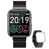 WWDOLL Smartwatch, Reloj Inteligente IP67 con Monitor Rítmo Cardíaco Sueño Podómetro Notificaciones, Reloj Deportivo 1.4 Inch Pantalla Táctil Completa Hombre Mujer para iOS y Android (Black)