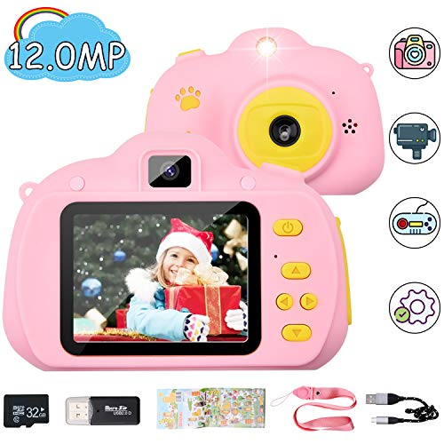 Hangrui Cámara para Niños, HD Doble Objetivo Juego Video Cámara de Fotos Digital con Tarjeta de Memoria de 32GB, Pantalla de Protección Ocular IPS de 2,4 Pulgadas, a Prueba de Golpes (Rosado)