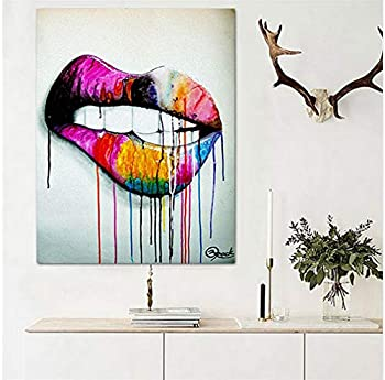 Faicai Art Sexy Colorful Lips Street Art Canvas Prints Wall Art Pop Art Abstract Paintings Posters Modern Wall Decor Pictures for Home Decor Living Room Bedroom Bathroom Office Wooden Framed 16 x24