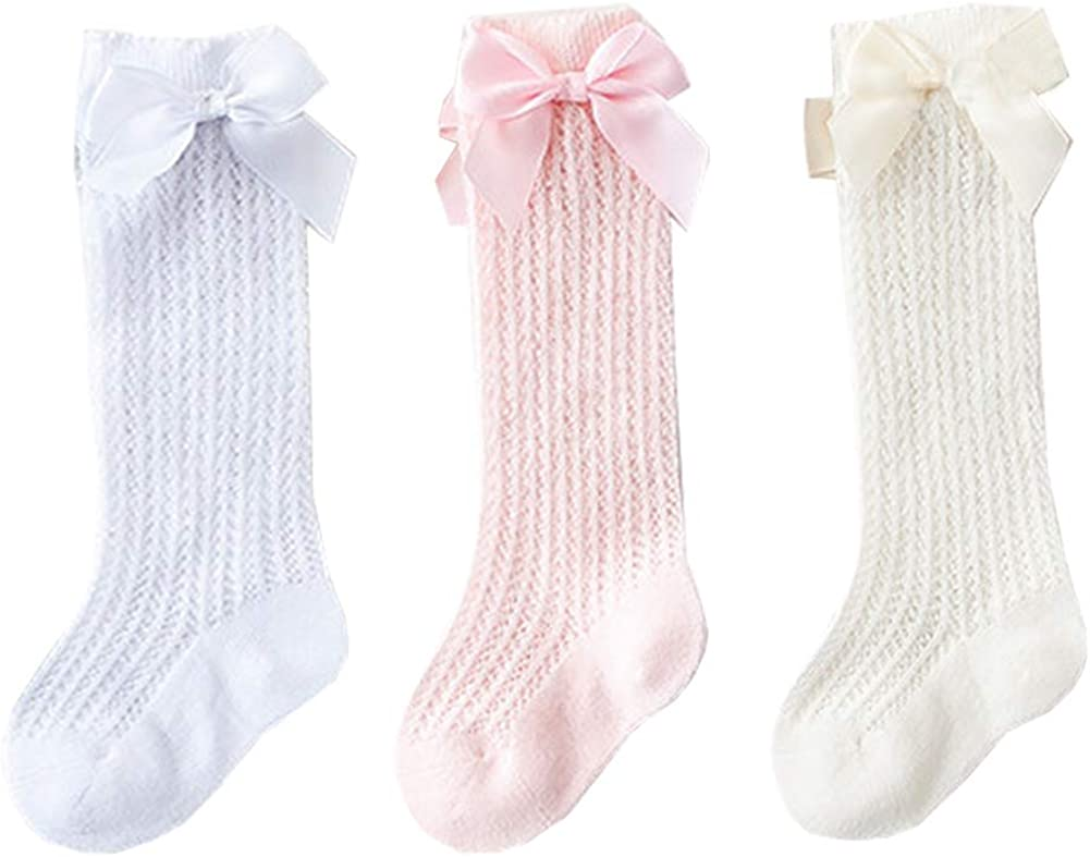 3 Pairs Baby Girls Knee High Socks Toddler Infants Bow Hollow Out Long Socks, B17