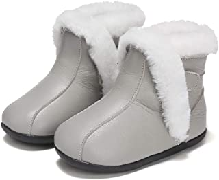 SandQ baby Grey Fur Lined Leather UGG Boot