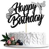 Vizglea Karate cake top hat, taekwondo theme cake top hat, karate happy birthday party supplies sparkling black decoration