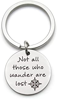 Not All Those Who Wander are Lost Stainless Steel Inspirational Pendant Keychain Double Sided Engraved Key Ring