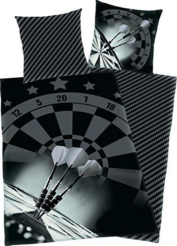 Herding Darts Bettwäsche-Set, Kopfkissenbezug 80 x 80 cm, Bettbezug 135 x 200 cm, Microfaser, Schwarz/ grau