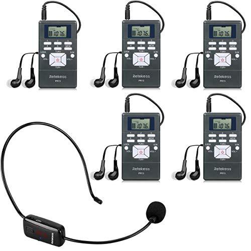 Retekess TR503-PR13 Sistema de Guía Turístico Micrófono Inalámbrico FM Auricular Inalámbrico y FM Receptor Para Guía Turística Enseñanza Conferencia Capacitación