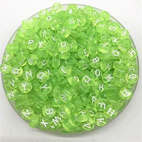 SAHFV 100 unids 7 mm Letras de Letras Coloridas Mezcla Oval Forma 26 Alfabeto encantos DIY Beads (Color : Green)