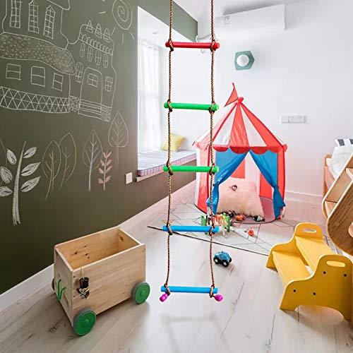 Rainbow Craft 6.6FT Climbing Rope Ladder Ninja Ladder for Kids - Kids Ninja Warrior Obstacle Course Accessories - Ninja Slackline Ladder, Playground Ninja Obstacles Swing Rope Ladder