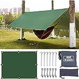 Hiwalker 3X5 Tarp Ultraleicht Zeltplane Wasserdicht mit Ösen Kleines Packmaß Zeltunterlage Leicht Kompakt Sonnensegel Strand mit Uv Schutz Hängematte Camping Plane (grün, 3x5m)