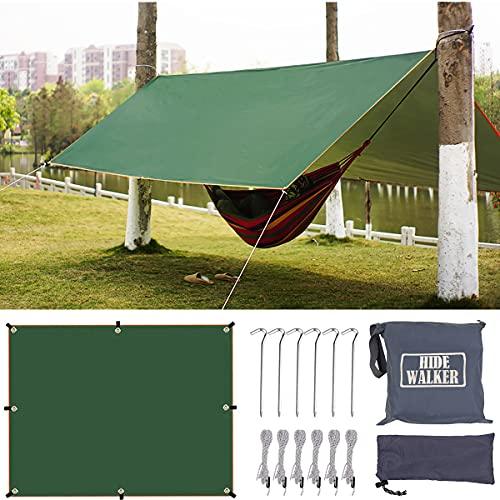 Hiwalker 3X3 Tarp Ultraleicht Zeltplane Wasserdicht mit Ösen Kleines Packmaß Zeltunterlage Leicht Kompakt Sonnensegel Strand mit Uv Schutz Hängematte Camping Plane (grün, 3x3m)