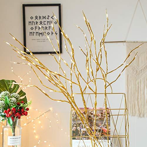 Keetech Paquete de 2 Ramas Iluminadas 40 luces LED Árbol Artificial Ramas de Sauce Lámpara para el Hogar Fiesta de Vacaciones Decoración de Navidad Decoración Funciona con Pilas (2 palos de oro)