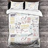 BROWCIN Juego de Sábanas Woof Dogs Good Boy Vamos a Jugar Mejores Amigos Patrón de Palabras y Animales Dibujados a Mano Juego de Funda nórdica y Funda de Almohada(140*200cm)
