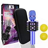 Wireless Bluetooth Karaoke Microphone Bluetooth 5.0 with Dual Sing, LED Lights, Portable Handheld Mic Speaker Machine for iPhone/Android/PC/Outdoor/Birthday/Home/Party