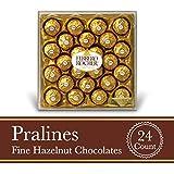 Ferrero Rocher Fine Hazelnut Milk Chocolate, 24 Count, Chocolate Christmas Candy Gift Box, 10.5 oz, Great Stocking Stuffers