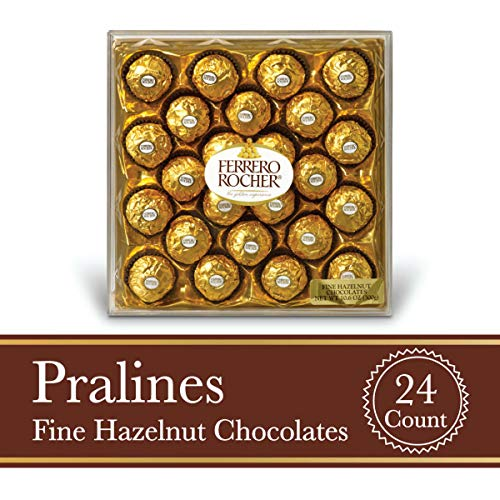 Ferrero Rocher Fine Hazelnut Milk Chocolate, 24 Count, Chocolate Candy Gift Box, Perfect Easter Egg and Basket Stuffers, 10.5 oz