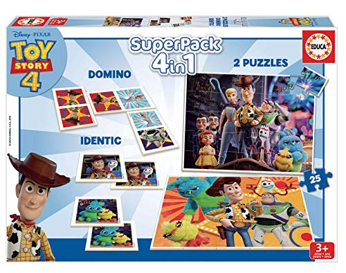 Educa- Superpack Toy Story 4 Pack de Domino, Identic y 2 Puzzles, Juego de Mesa, Multicolor (18348)
