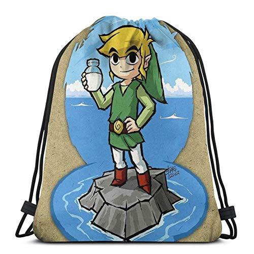 Zelda Wind Waker Botella de leche Sport Sackpack Drstring mochila bolsa de gimnasio