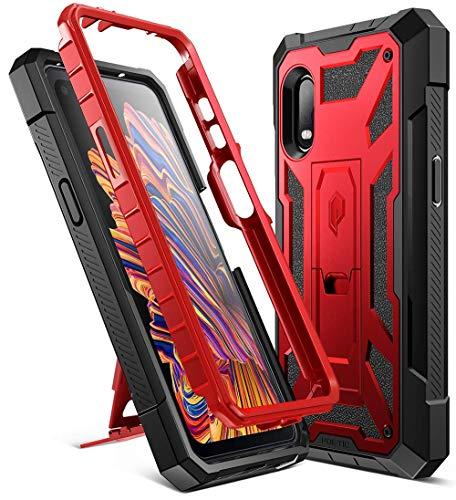 Poetic Spartan-Serie für Samsung Galaxy XCover Pro Hülle, Ganzkörper-Schutzhülle, robust, doppellagig, Metallic-Akzent, Premium-Ledertextur, stoßfeste Schutzhülle mit Ständer, Metallic-Rot