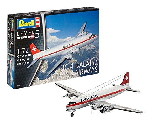 Revell Modellbausatz Flugzeug 1:72 - DC-4 Balair / Iceland Airways im Maßstab 1:72, Level 5, originalgetreue Nachbildung mit vielen Details, 04947