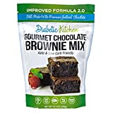 Diabetic Kitchen Keto Brownie Baking Mix - Keto Friendly Low Carb Gluten Free - No Sugar Added Dark Chocolate - 6G Fiber No Artificial Sweeteners or Sugar Alcohols (Pouch)