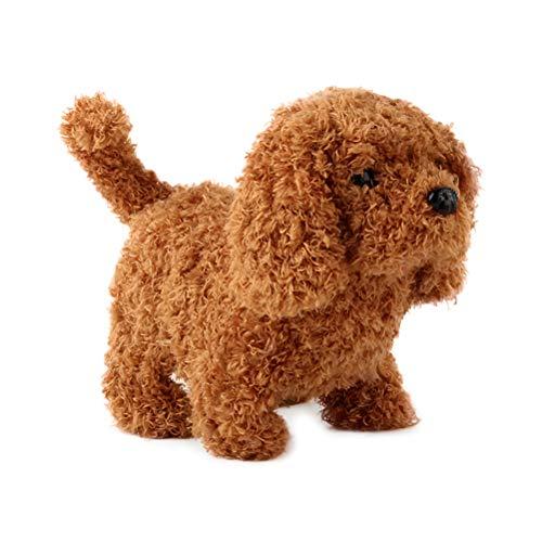 Tixiyu Elektrische Simulation Teddy Hund Glück Plüsch Puppe Spielzeug, realistisch niedlich Teddy Hund Plüsch Spielzeug interaktiv Hund wird rufen und gehen Welpe Tier Spielzeug für Kinder