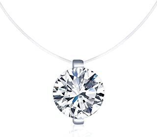 Infinite U Solitaire Pendant 925 Sterling Silver Cubic Zirconia CZ with Transparent Chain Necklace for Women