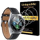 UniqueMe [4 Pack Vetro Temperato Compatibile con Samsung Galaxy Watch 3 45mm Pellicola Protettiva, [Bubble-Free], HD Clear Anti-Scratch [Garanzia sui sostituzioni a Vita]
