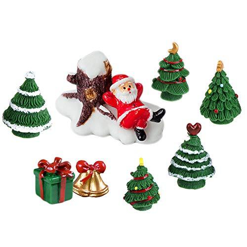 COOLTOP 9pcs Miniature Christmas Accessories Resin Snowman Santa Xmas Tree Miniature Ornament Kits Set for DIY Fairy Garden Dollhouse Decoration