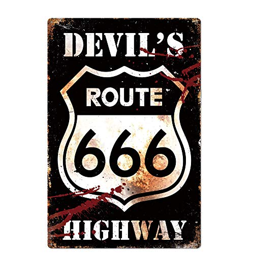 Original Retro Design Route 666 Tin Metal Signs Wall Art   Devil 's High Way   Thick Tinplate Print Poster for Garage
