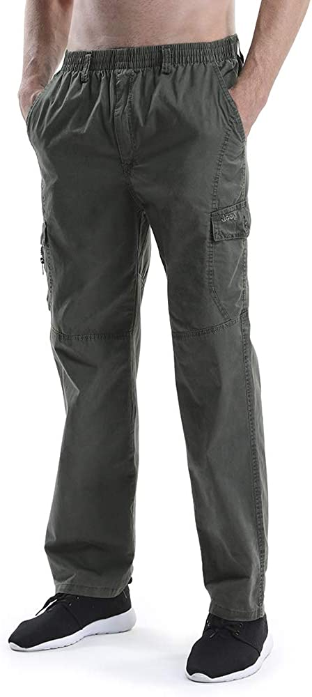 Cheap mail order shopping OCHENTA Men's Cargo Pants with Elastic Pull Finally popular brand On Str Relaxed Waist