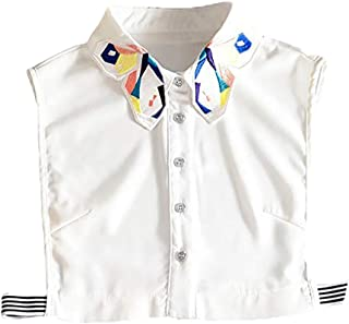 LANGUGU Stylish Detachable Half Shirt Blouse False Collar Chiffon Embroidered Colorful Butterfly Collar Dickey Collar