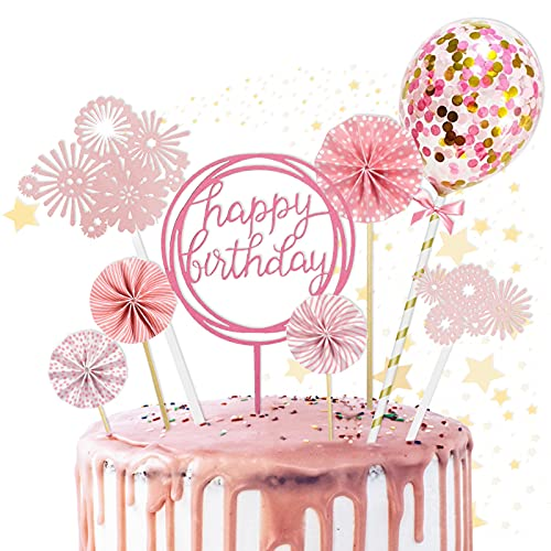 Cake Topper, 8 Piezas Toppers de Pastel Torta Toppers Cumpleaños Toppers Happy Birthday Topper Toppers para Tartas, para fiestas de bebés, cumpleaños infantiles (Rosa)
