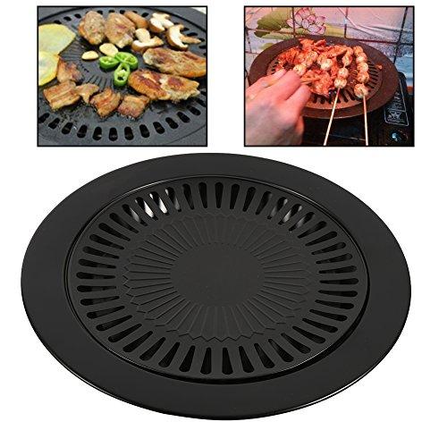 Plaque à grillades ronde, Grille de barbecue Plaque Gril antiadhésif sans fumée Poêles, intérieures Cuisinière Plaque de gril Cuisine saine Cuisson au barbecue Outil de cuisine
